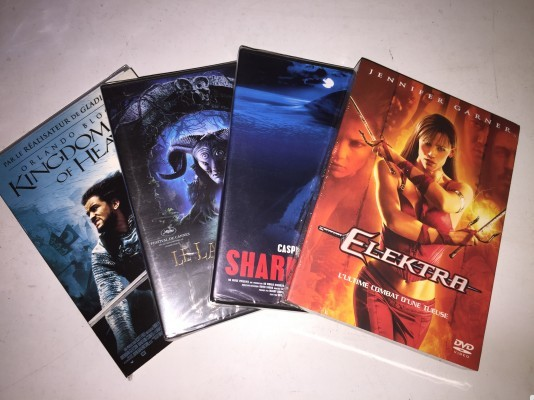 Lot de 4 DVD neuf : Elektra, le labyrinthe de pan, Shark attaque, Kingdom of Heaven