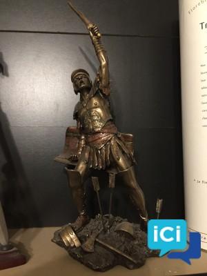 Statuette spartiate plâtre bronze