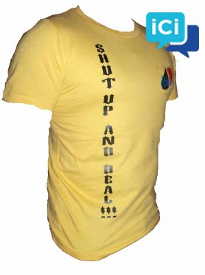 """Tee-Shirt marque POK-ONLY """"Shuffle Up and Deal"""" Jaune"""