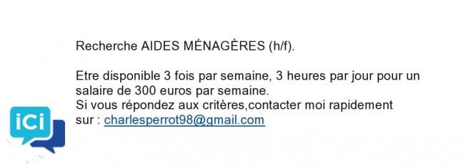 Recherche AIDES MÉNAGÈRES (h/f).