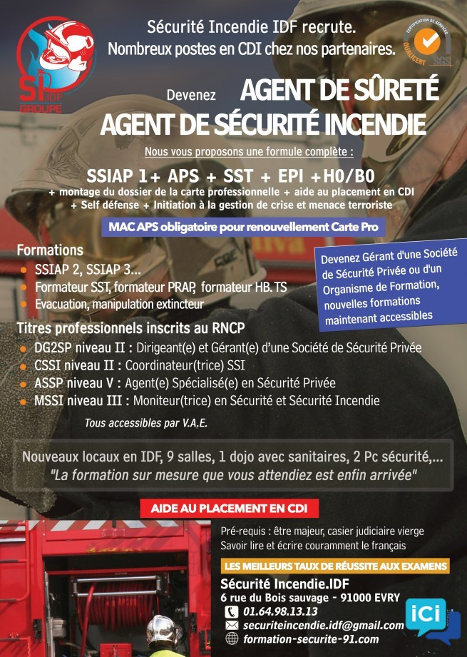 Package SSIAP 1 + APS + SST + EPI + H0/B0 + Palpation de sécurité + Gestion de conflits + Initiation aux Menaces terroristes