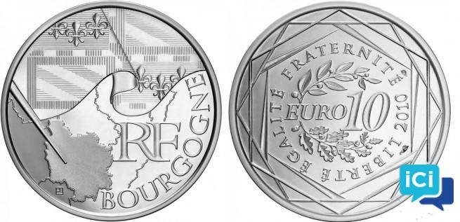 Pièce 10 euros Bourgogne 2010_Neuve_Argent
